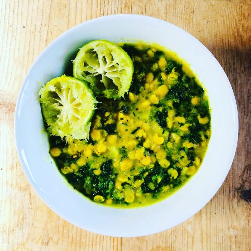 Lime, Coconut and Spinach Dhal
